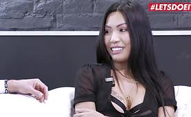 Hot Asian Polly Pons gets anal on the casting couch