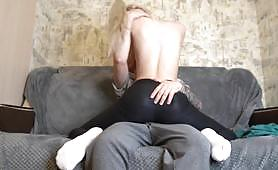 Petite blonde bitch is fucked by a big white dick